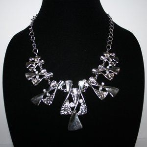 Silver bib rhinestone necklace adjustable